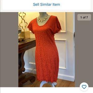 Diane von Furstenberg Red  Sz 8 Lace Sheath Dress